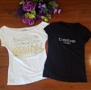 Bebe Lot of 2 Logo Shirts Black & White Small